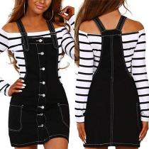Fashion Single-breasted Denim Suspender Skirt