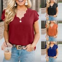 Fashion Solid Color Short Sleeve V-neck Blouse