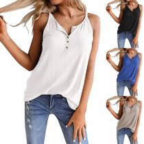 Simple Style Solid Color V-neck Sling Top