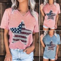 Fashion Short Sleeve V-neck Pentagram Printed T-shirt