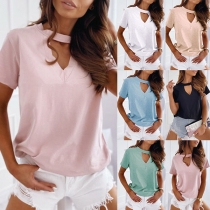Fashion Hollow Out V-neck Short Sleeve Solid Color T-shirt