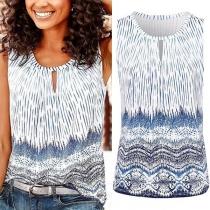 Fashion Sleeveless Round Neck Printed Top