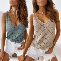 Sexy V-neck Sleeveless Solid Color Hollow Out Knit Top