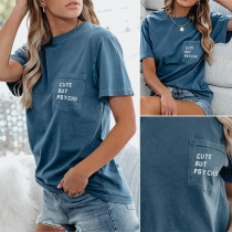 Casual Style Short Sleeve Round Neck Letters Printed T-shirt