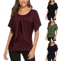 Fashion Solid Color Short Sleeve Round Neck Ruffle T-shirt