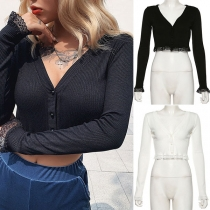 Sexy Lace Spliced Hem Long Sleeve V-neck Solid Color Crop Top
