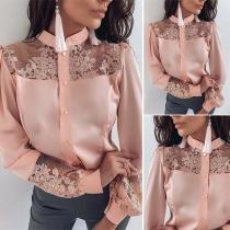 Sexy Lace Spliced Long Sleeve Mock Neck Shirt