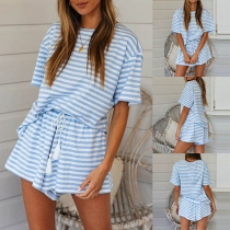 Fashion Short Sleeve Round Neck Striped T-shirt + Shorts two-piece Set