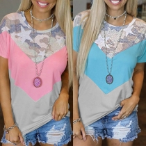 Fashion Camouflage Spliced Short Sleeve Round Neck Contrast Color T-shirt