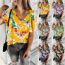 Sweet Style Lotus Sleeve V-neck Printed T-shirt