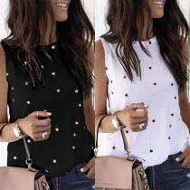 Fashion Sleeveless Round Neck Star Printed T-shirt