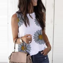 Fashion Sleeveless Round Neck Sunflower Printed T-shirt