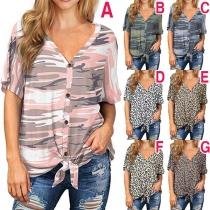 Fashion Short Sleeve V-neck Knotted Hem Printed T-shirt