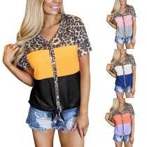 Fashion Leopard Spliced Short Sleeve V-neck Contrast Color T-shirt