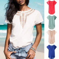 Fashion Solid Color Short Sleeve High-low Hem Hollow Out Chiffon Top