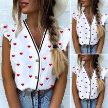Sweet Style Lotus Sleeve V-neck Heart Printed Blouse