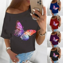 Fashion Short Sleeve Round Neck Butterfly Printed T-shirt