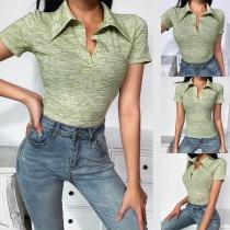 Fashion Short Sleeve POLO Collar Sports T-shirt