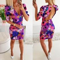 Sexy Deep V-neck Short Sleeve Slim Fit Printed Dress