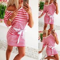 Fashion Long Sleeve Round Neck Slim Fit Striped Dress