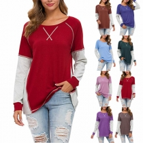 Fashion Long Sleeve Round Neck Contrast Color T-shirt