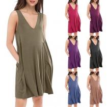 Simple Style Sleeveless V-neck Front-pocket Loose Tank Dress