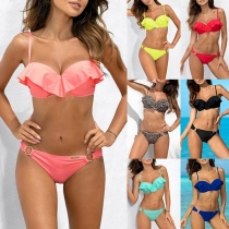 Sexy Low-waist Ruffle Bikini Set