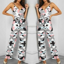 Sexy Backless V-neck High Waist Printed Sling Jumpsuit