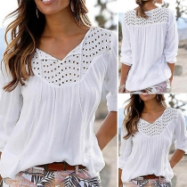 Fashion Solid Color Long Sleeve V-neck Hollow Out Blouse