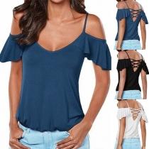 Sexy Backless Off-shoulder V-neck Lotus Sleeve Solid Color Sling T-shirt