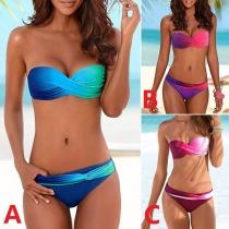 Sexy Low-waist Color Gradient Bandeau Bikini Set