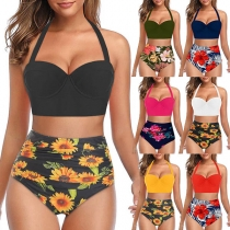 Sexy High Waist Printed Halter Bikini Set