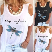 Sexy Off-shoulder Short Sleeve Round Neck Dragonfly Printed T-shirt