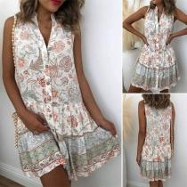 Fashion Sleeveless Stand Collar Printed Shirt Dress