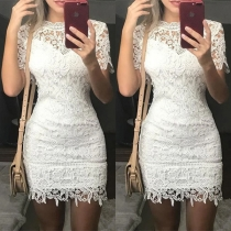 Sexy Short Sleeve Round Neck Slim Fit Hollow Out Lace Dress