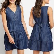 Fashion Sleeveless V-neck Denim Dress