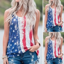 Chic Style American Flag Printed Tank Top