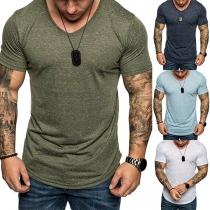 Simple Style Short Sleeve V-neck Man's T-shirt