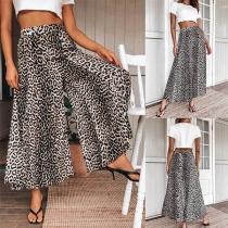 Fashion High Waist Leopard Printed Wide-leg Pants