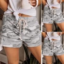 Fashion Drawstring Waist Camouflage Printed Shorts