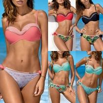 Sexy Conjunto de Bikinis con Estampado de Talle Bajo