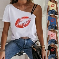 Sexy One-shoulder Short Sleeve Red-lip Printed T-shirt