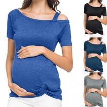 Sexy Oblique Shoulder Short Sleeve Twisted Hem Maternity T-shirt