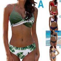 Sexy Conjunto de Bikini Halter Cruzado de Cintura Baja