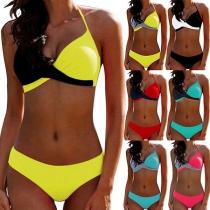 Sexy Conjunto de Bikinis Halter de Bicolor Talle Bajo