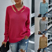 Fashion Solid Color Long Sleeve V-neck Hollow Out Sweater