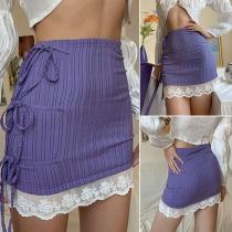 Mini Falda de Rayas de Talle Alto Bajo con Encaje