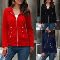 Fashion Solid Color Long Sleeve Stand Collar Jacket