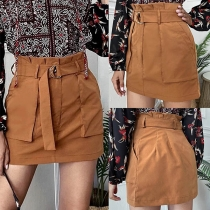 Fashion Solid Color High Waist Slim Fit Skirt
