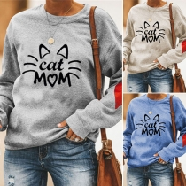 Cute Cat Printed Long Sleeve Round Neck Sweatshirt